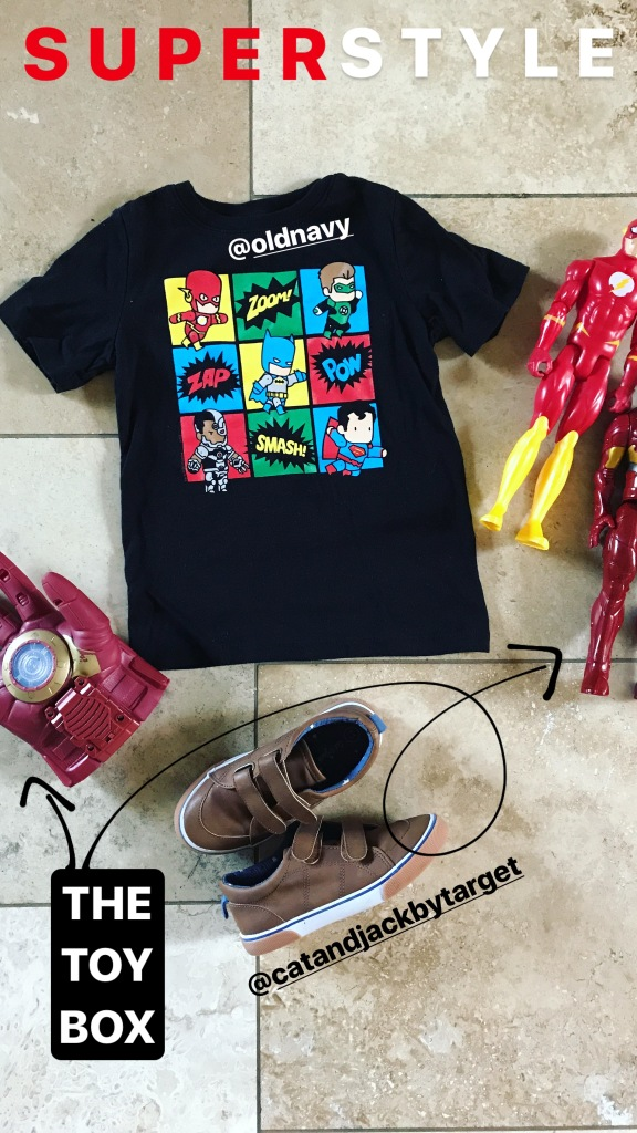 superhero tee and cat and jack shoes style