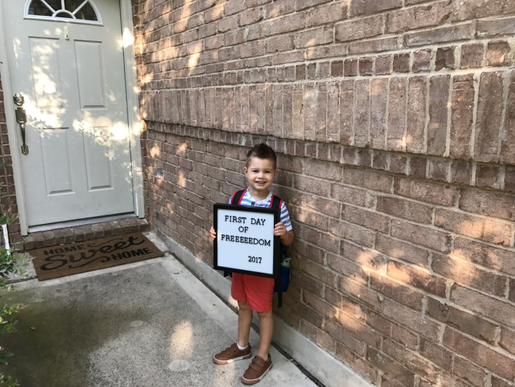 first day of school picture with sign
